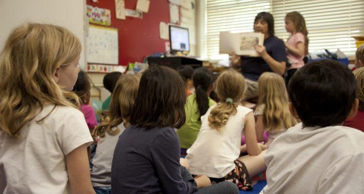 Kids attending school